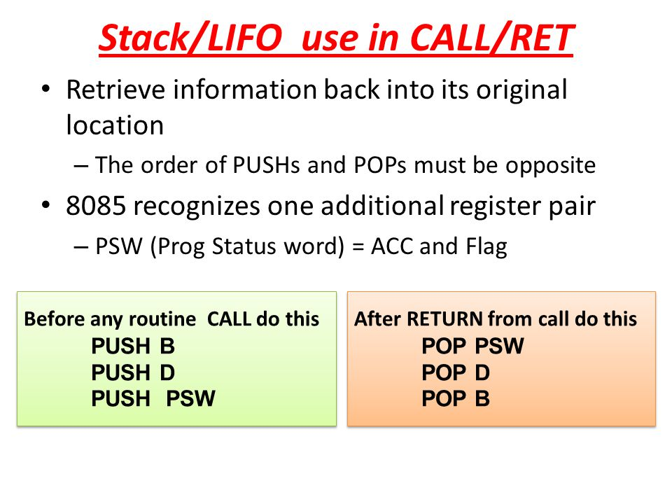 Stack/LIFO use in CALL/RET