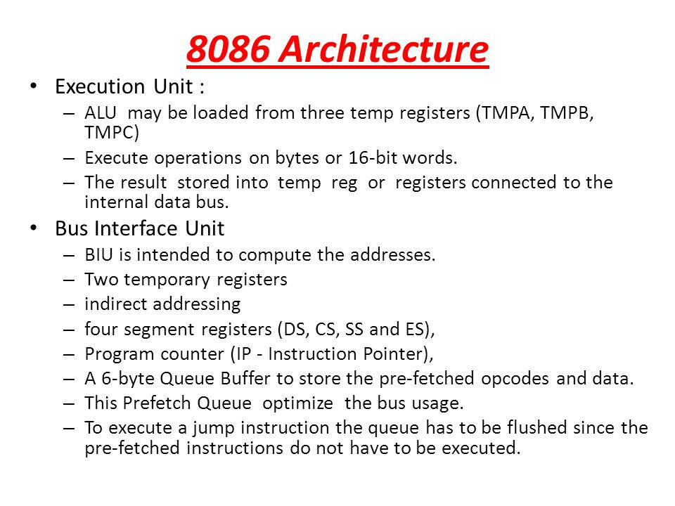 8086 Architecture Execution Unit : Bus Interface Unit