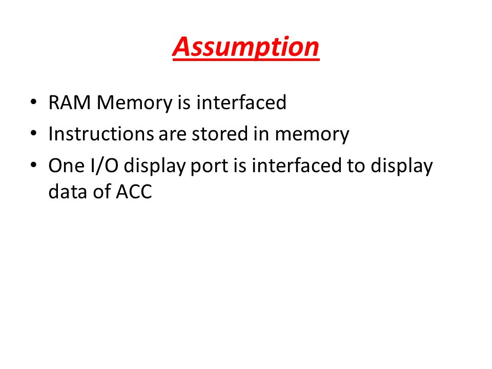 Assumption RAM Memory is interfaced Instructions are stored in memory