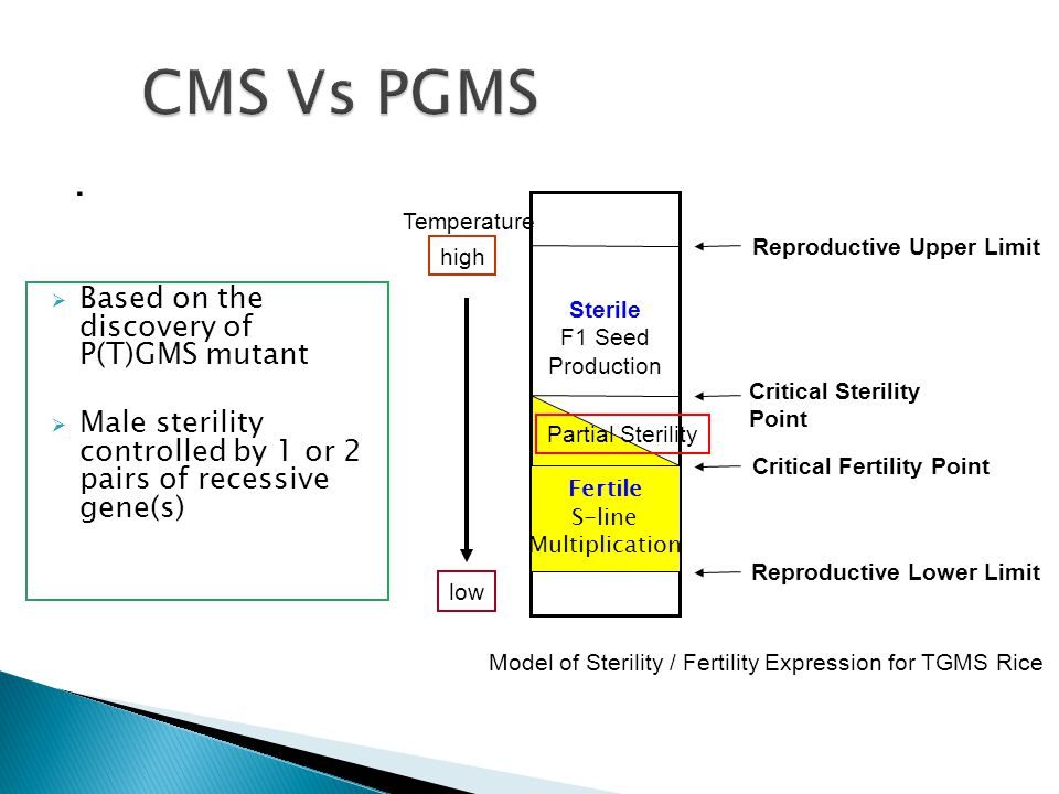 CMS Vs PGMS . Based on the discovery of P(T)GMS mutant