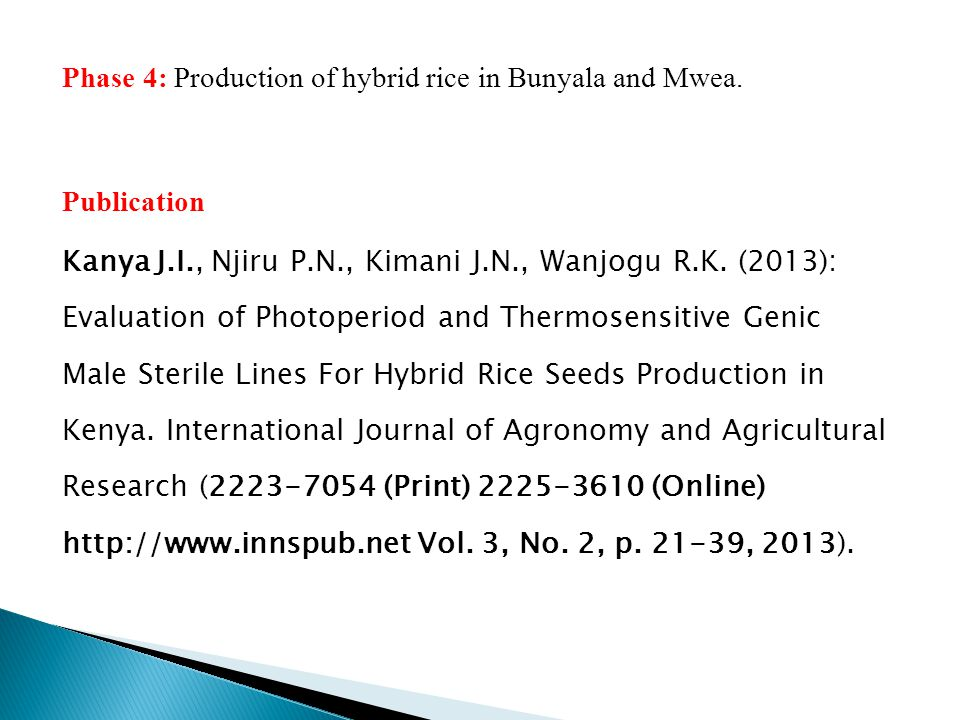 Phase 4: Production of hybrid rice in Bunyala and Mwea.