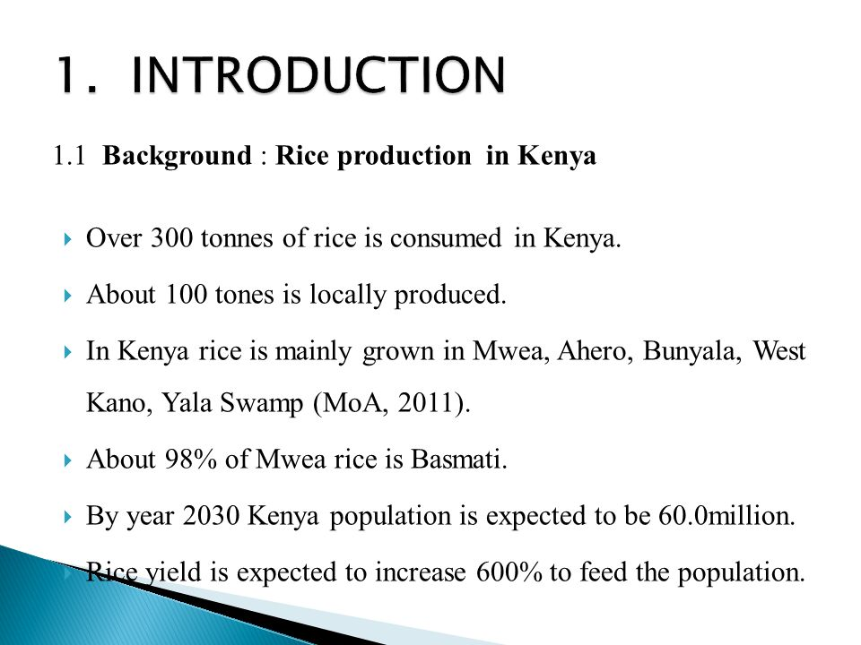 1. INTRODUCTION 1.1 Background : Rice production in Kenya