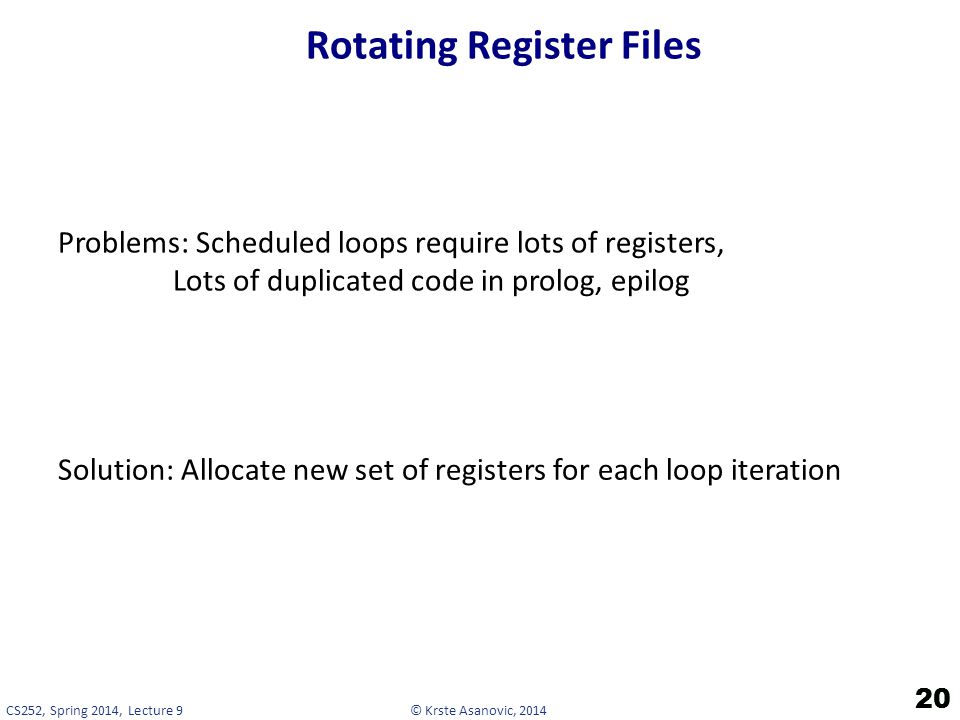 Rotating Register Files