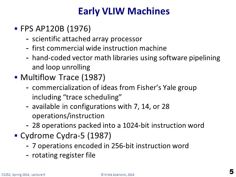 Early VLIW Machines FPS AP120B (1976) Multiflow Trace (1987)