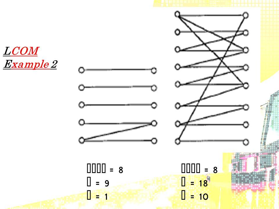 LCOM Example 2 LCOM = 8 LCOM = 8 P = 9 P = 18 Q = 1 Q = 10