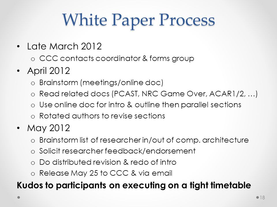 White Paper Process Late March 2012 April 2012 May 2012