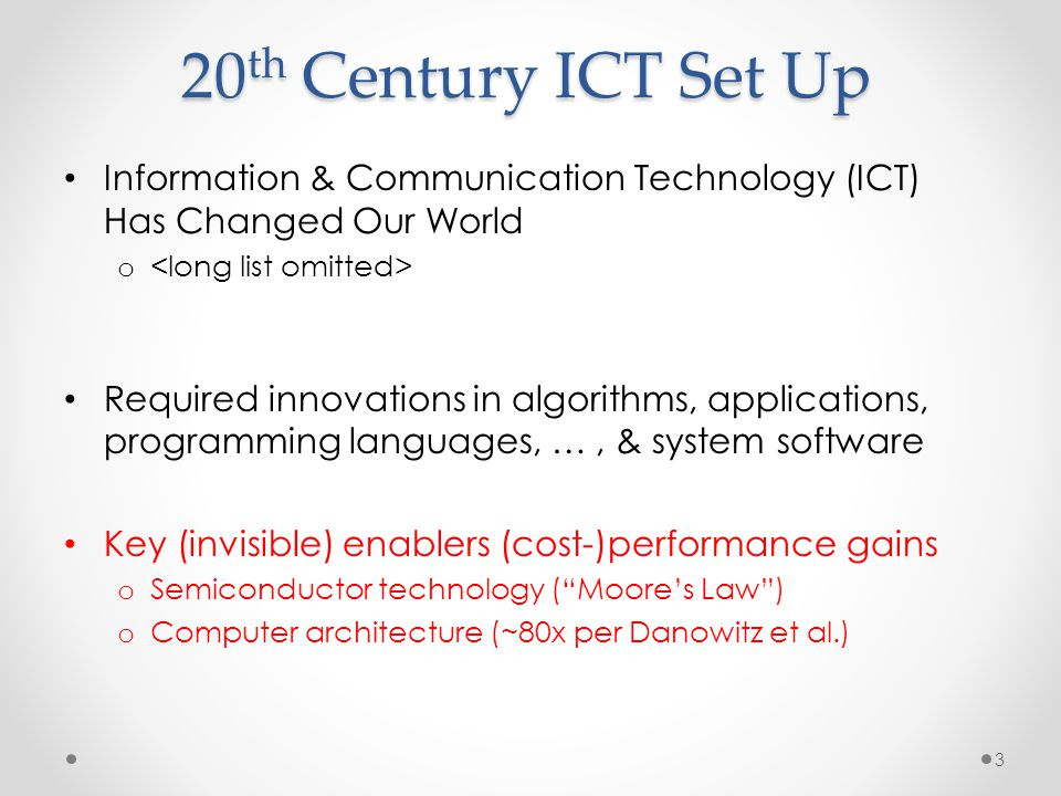20th Century ICT Set Up Information & Communication Technology (ICT) Has Changed Our World. <long list omitted>