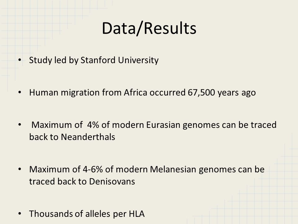 Data/Results Study led by Stanford University