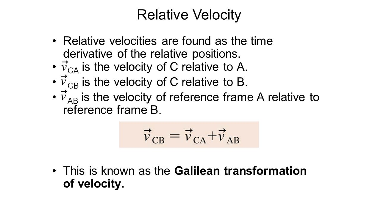 Relative Velocity Reference Frames