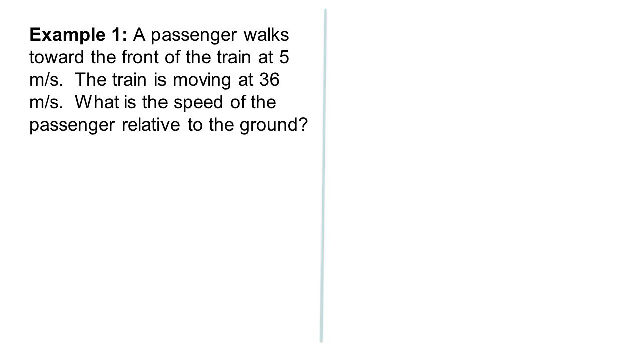 Example 1: A passenger walks toward the front of the train at 5 m/s