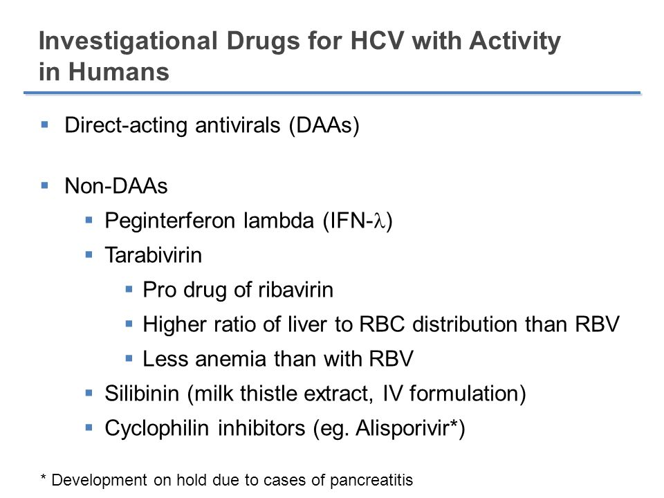 Investigational Drugs for HCV with Activity in Humans