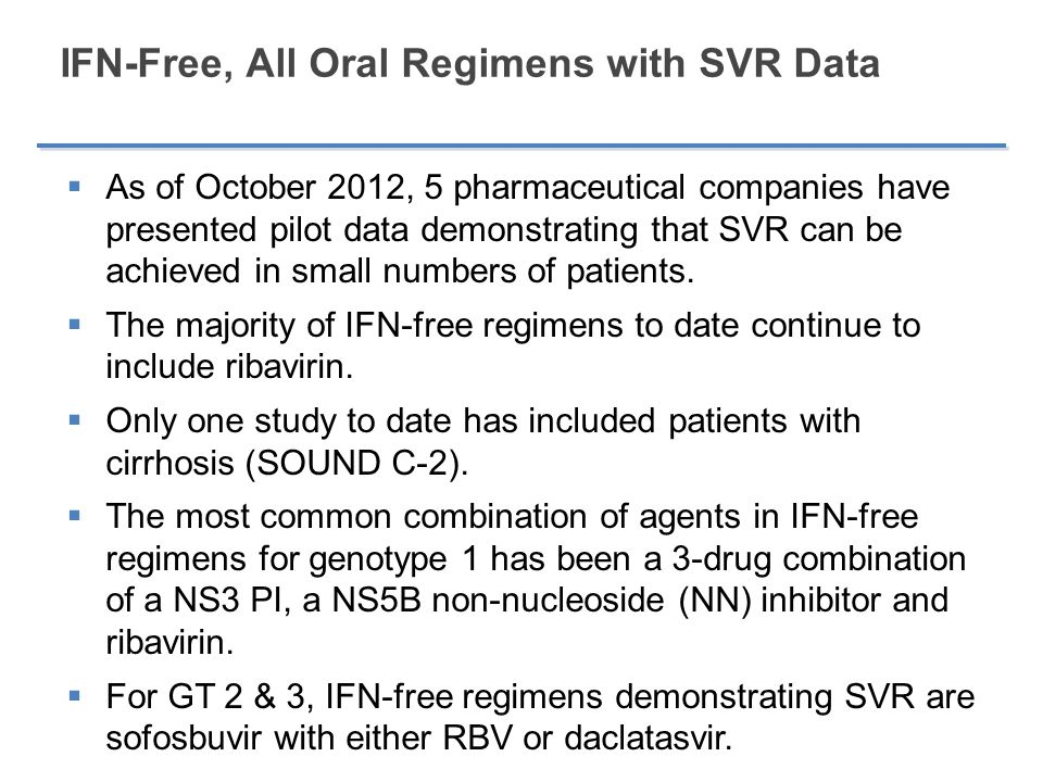 IFN-Free, All Oral Regimens with SVR Data