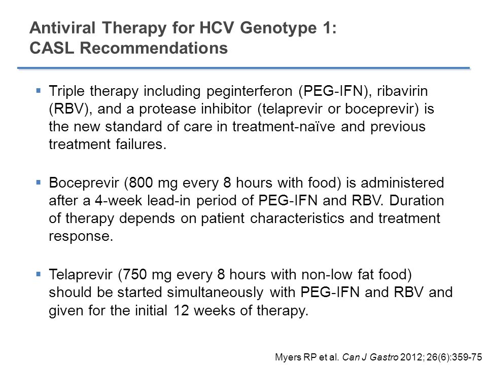 Antiviral Therapy for HCV Genotype 1: CASL Recommendations