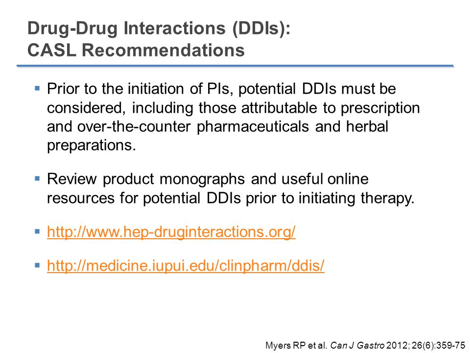 Drug-Drug Interactions (DDIs): CASL Recommendations