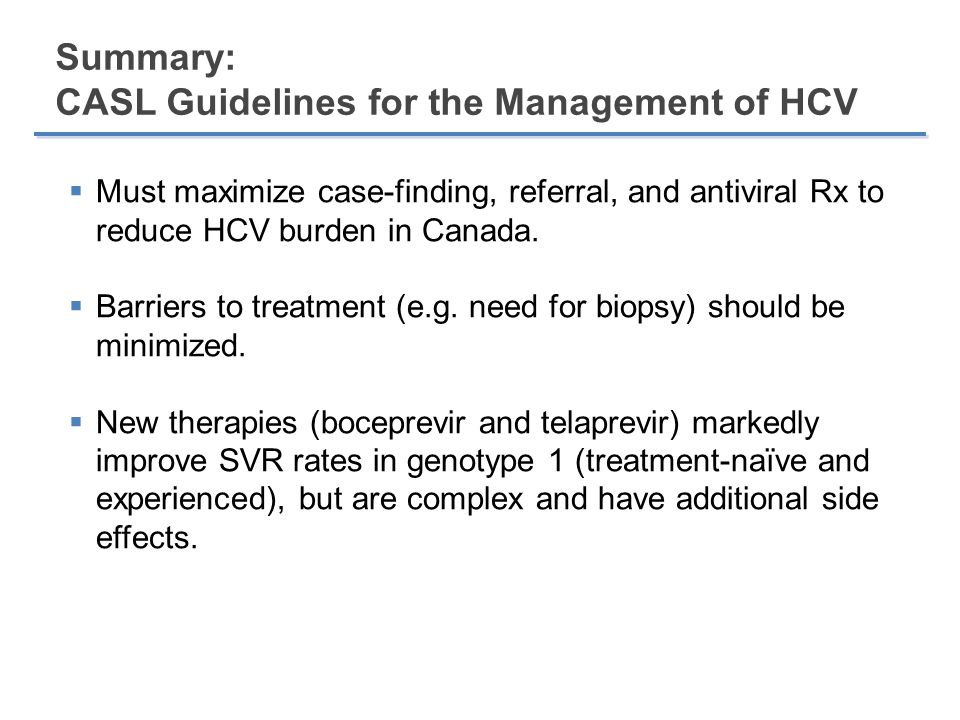 Summary: CASL Guidelines for the Management of HCV