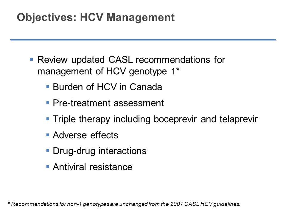 Objectives: HCV Management