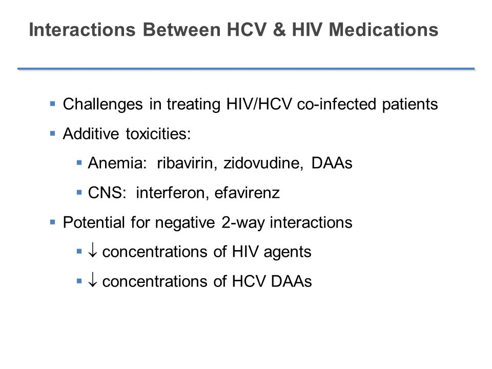 Interactions Between HCV & HIV Medications
