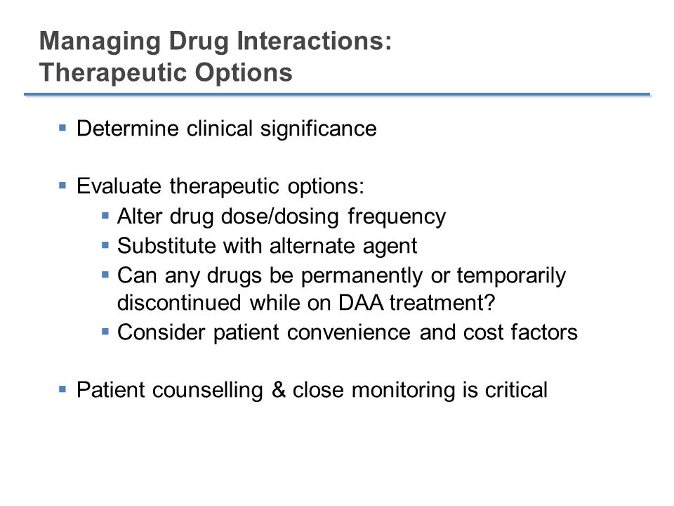 Managing Drug Interactions: Therapeutic Options