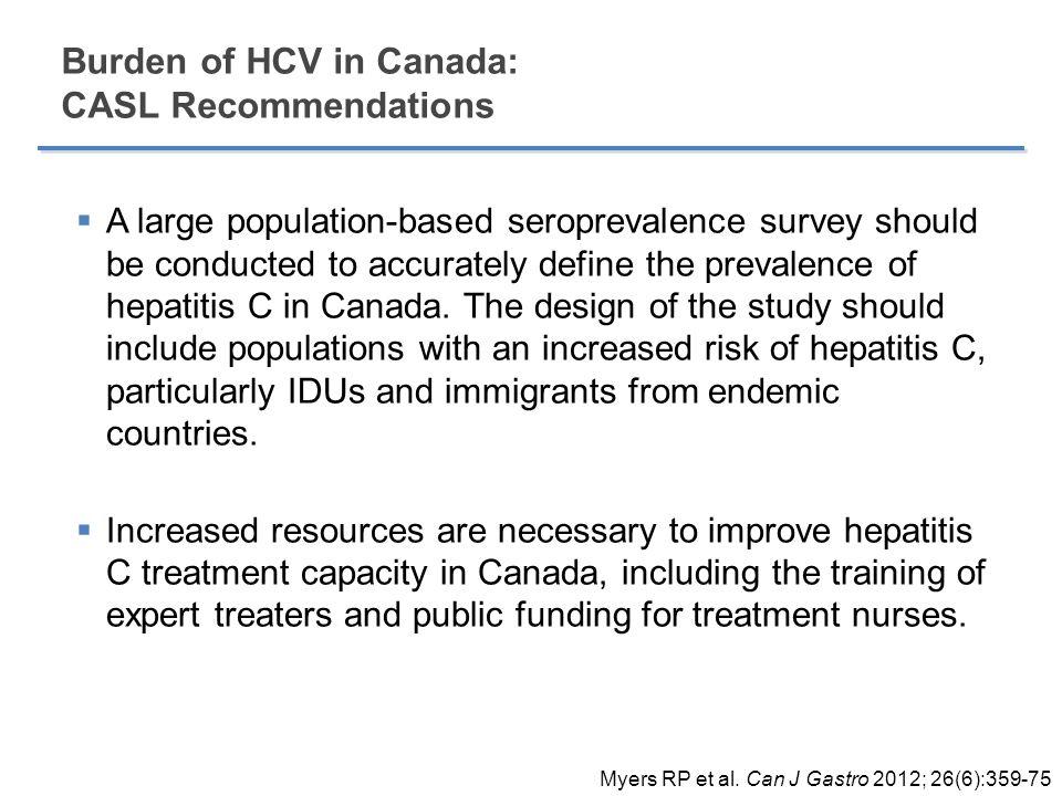 Burden of HCV in Canada: CASL Recommendations