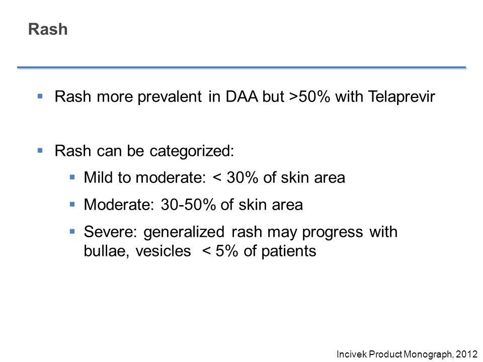 Rash Rash more prevalent in DAA but >50% with Telaprevir