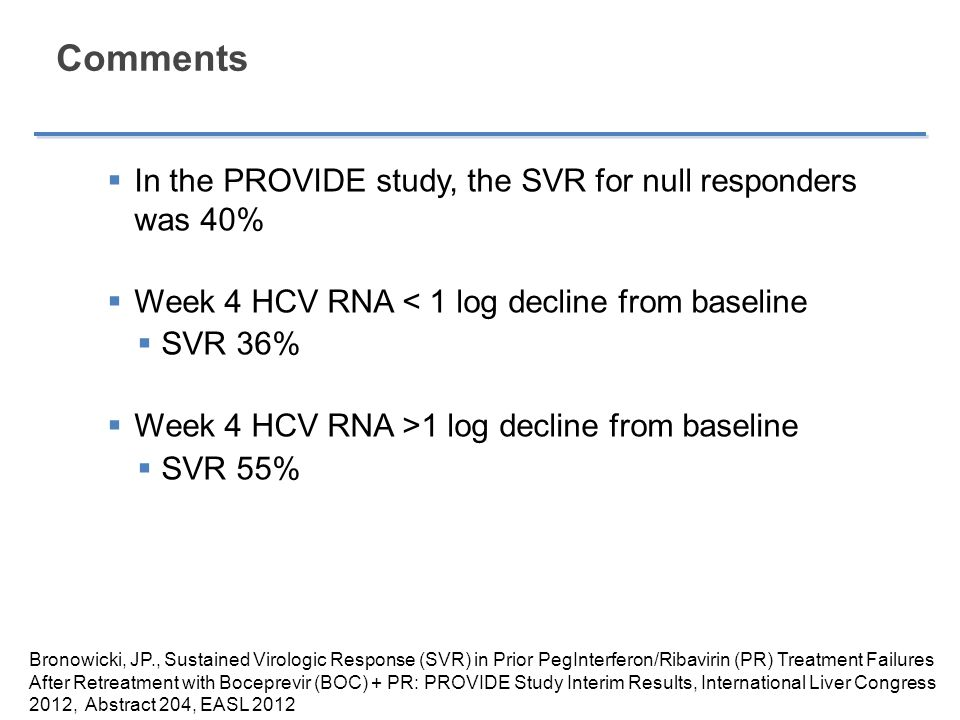 Comments In the PROVIDE study, the SVR for null responders was 40%