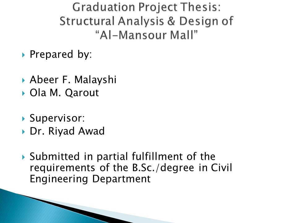 Graduation Project Thesis: Structural Analysis & Design of Al-Mansour Mall