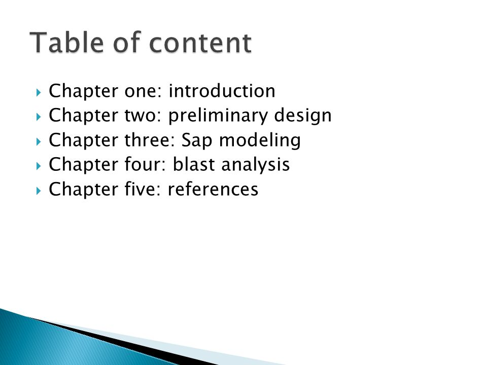 Table of content Chapter one: introduction