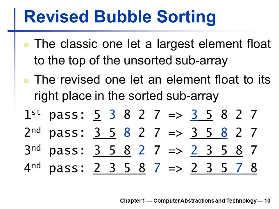 Revised Bubble Sorting