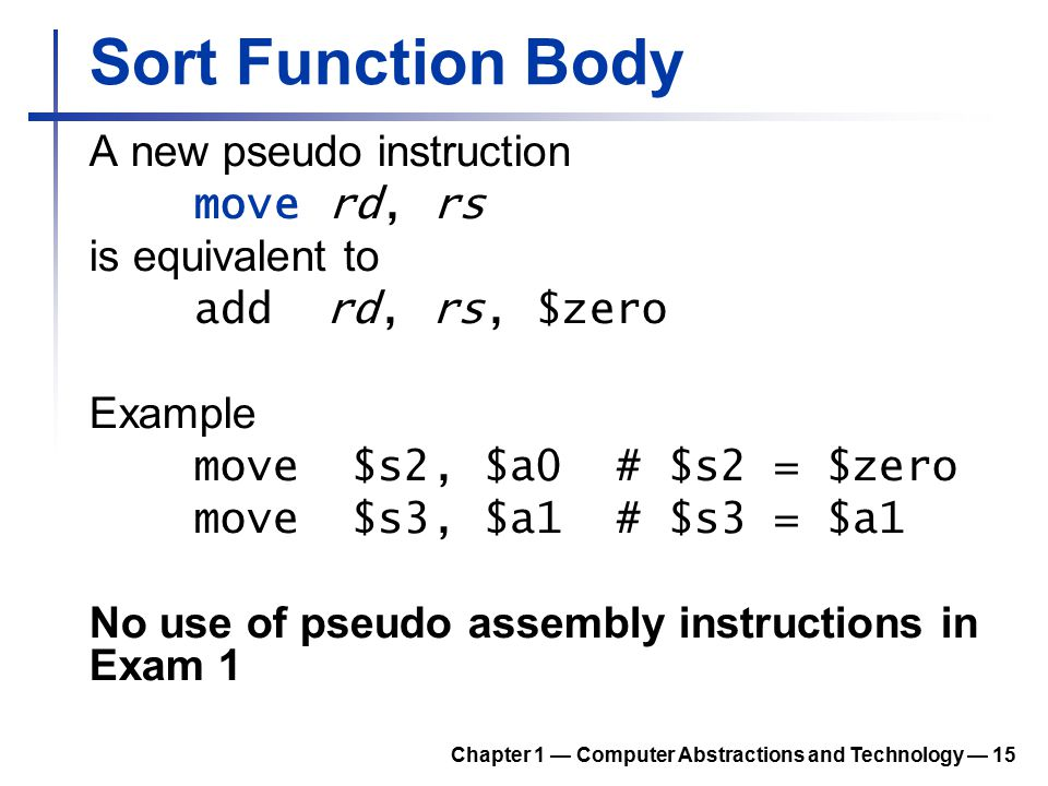 Sort Function Body