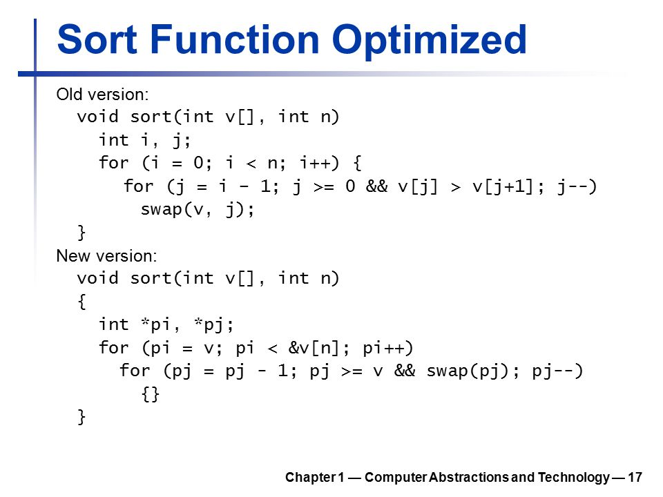 Sort Function Optimized