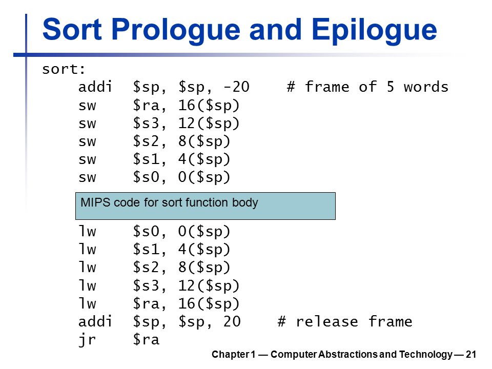 Sort Prologue and Epilogue