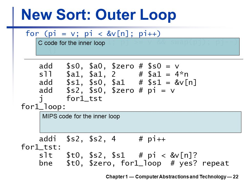 New Sort: Outer Loop