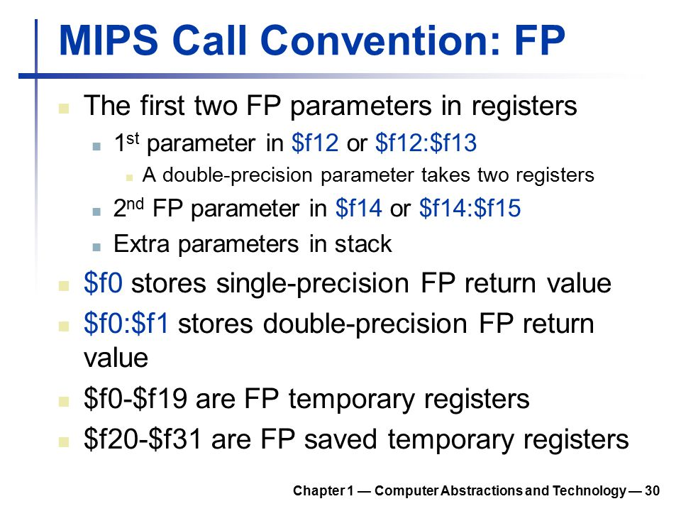 MIPS Call Convention: FP