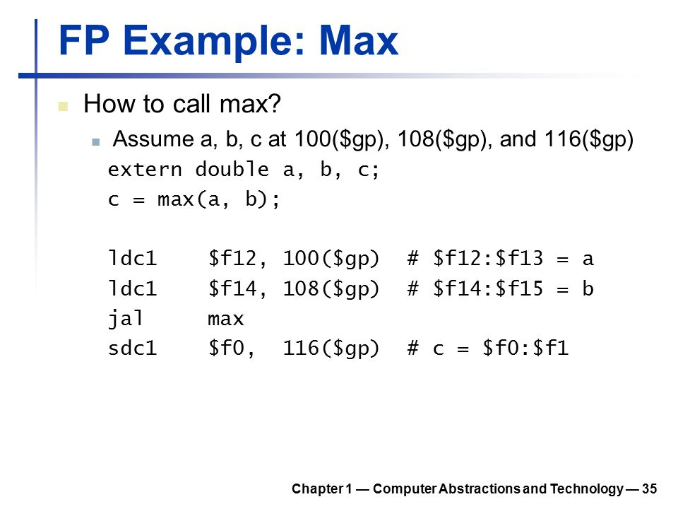 FP Example: Max How to call max