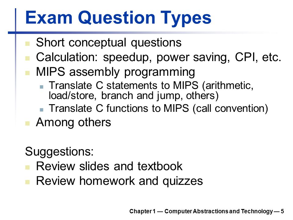 Exam Question Types Short conceptual questions