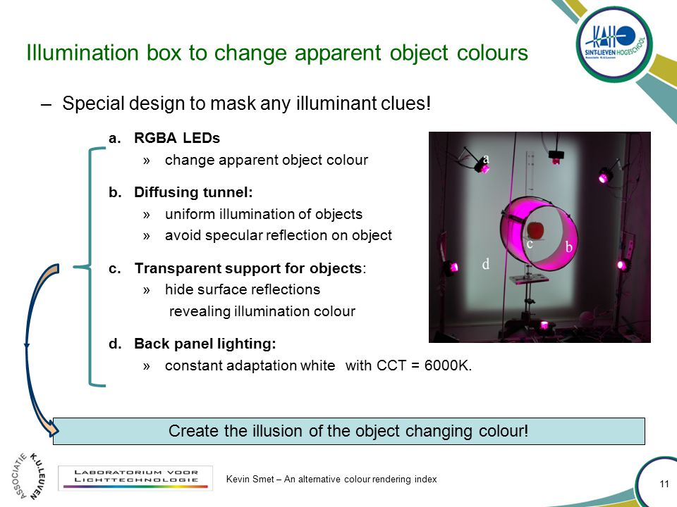 Illumination box to change apparent object colours