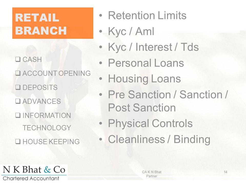 Pre Sanction / Sanction / Post Sanction Physical Controls