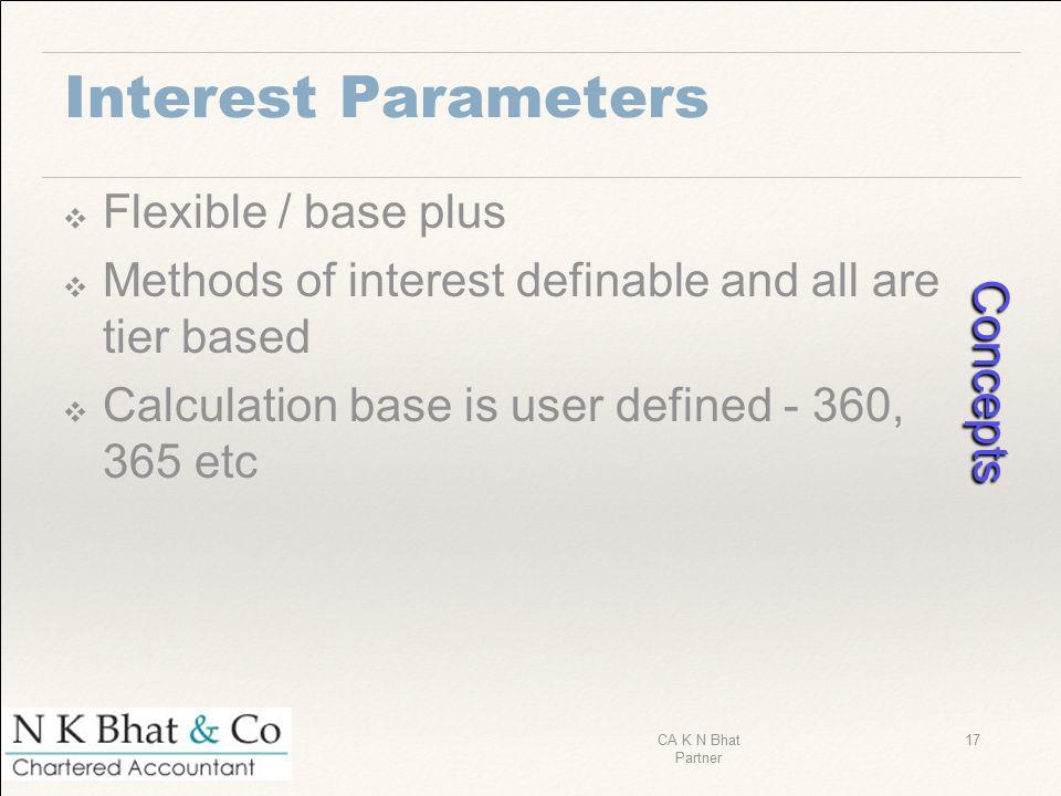 Concepts Interest Parameters Flexible / base plus