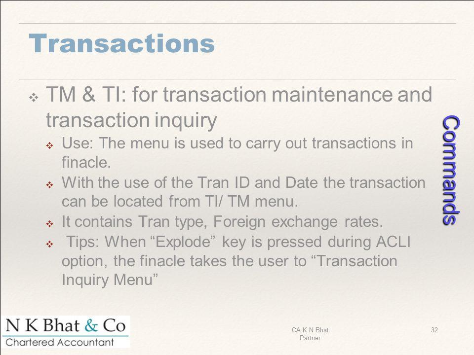 Commands Transactions
