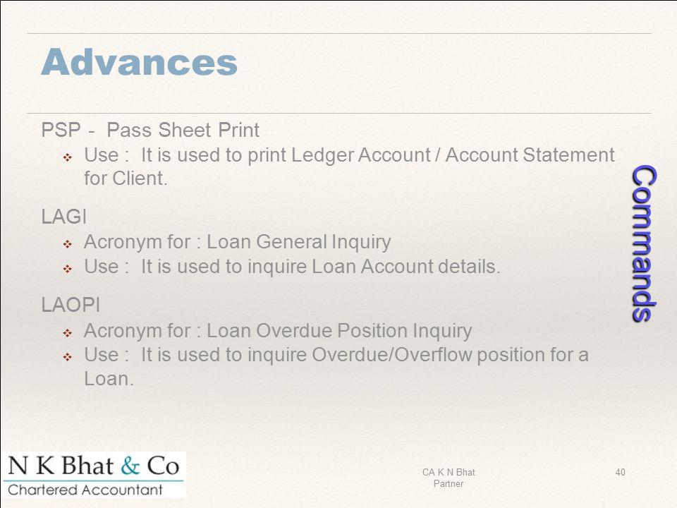 Commands Advances PSP - Pass Sheet Print LAGI LAOPI