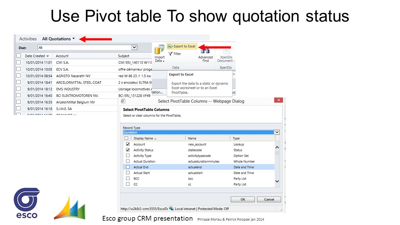 Use Pivot table To show quotation status