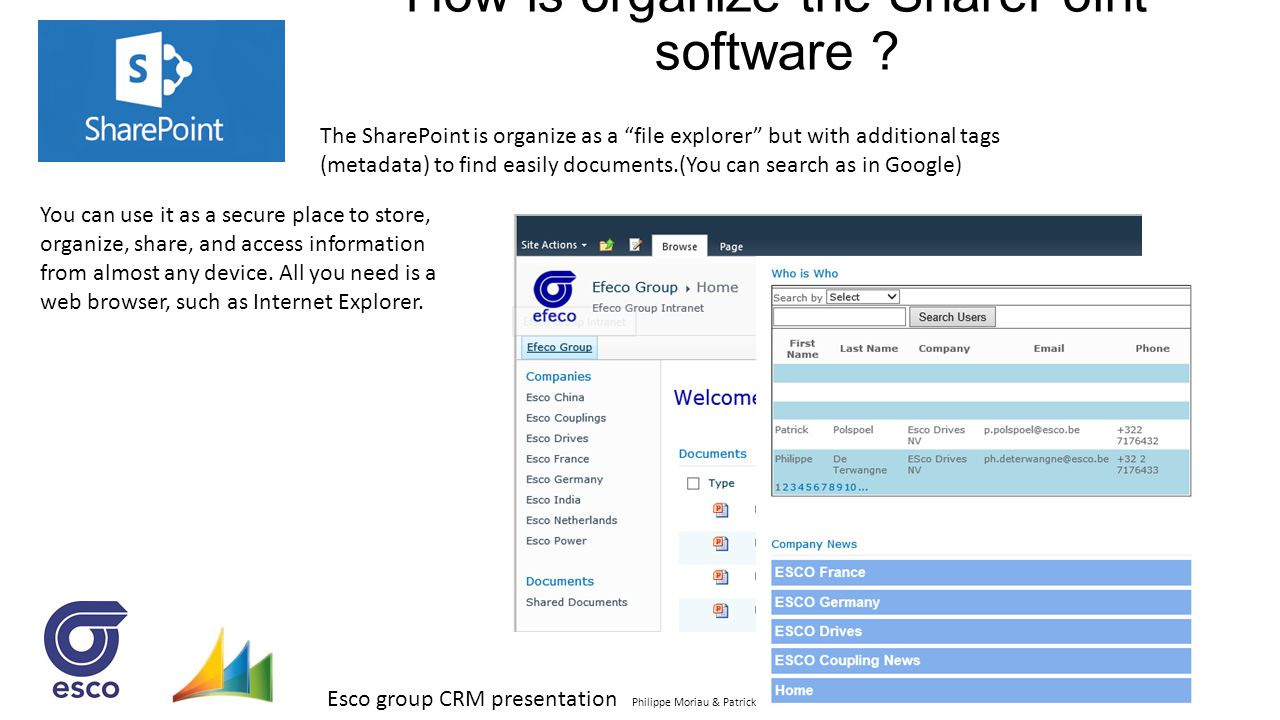 How is organize the SharePoint software