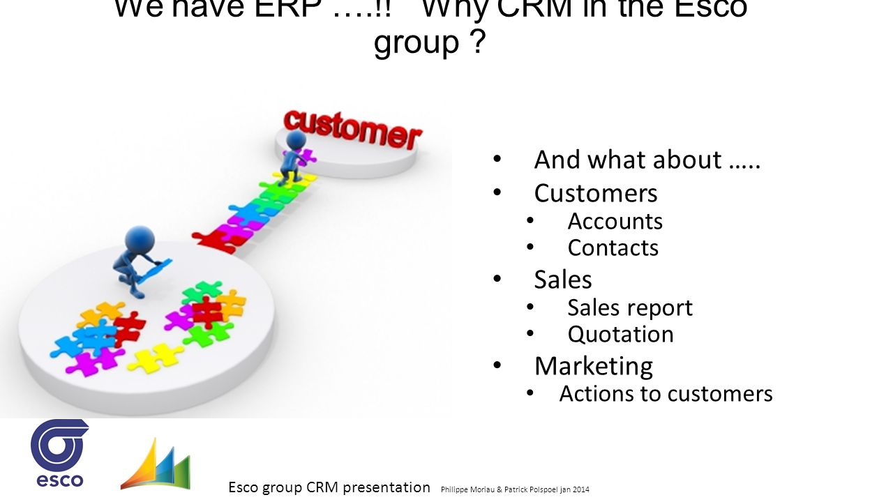 We have ERP ….!! Why CRM in the Esco group