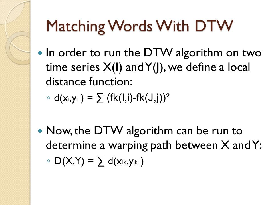 Matching Words With DTW