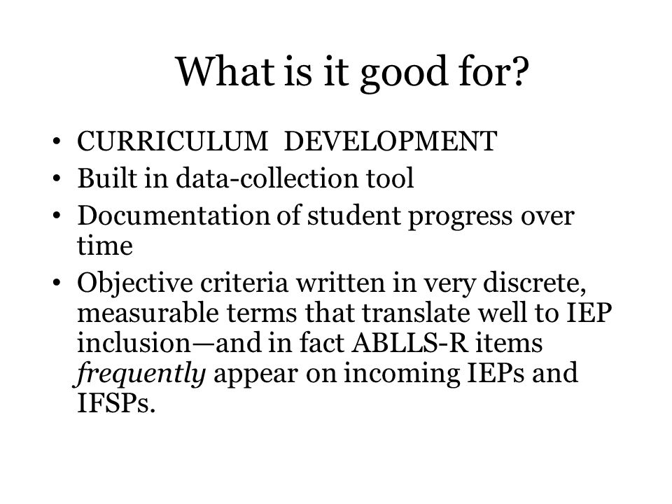 What is it good for CURRICULUM DEVELOPMENT