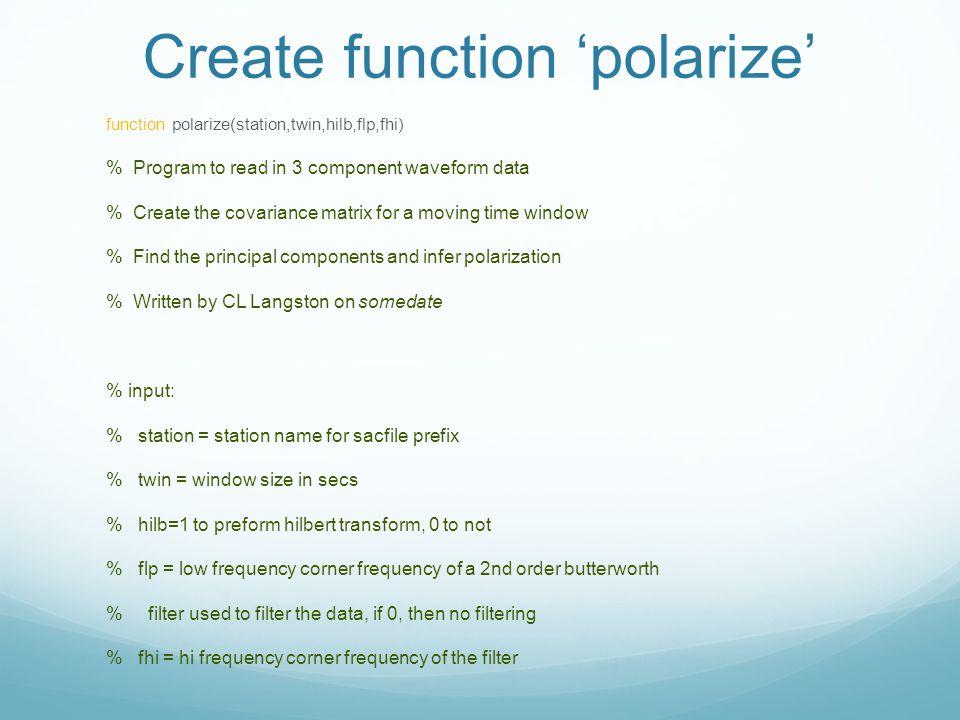 Create function 'polarize'