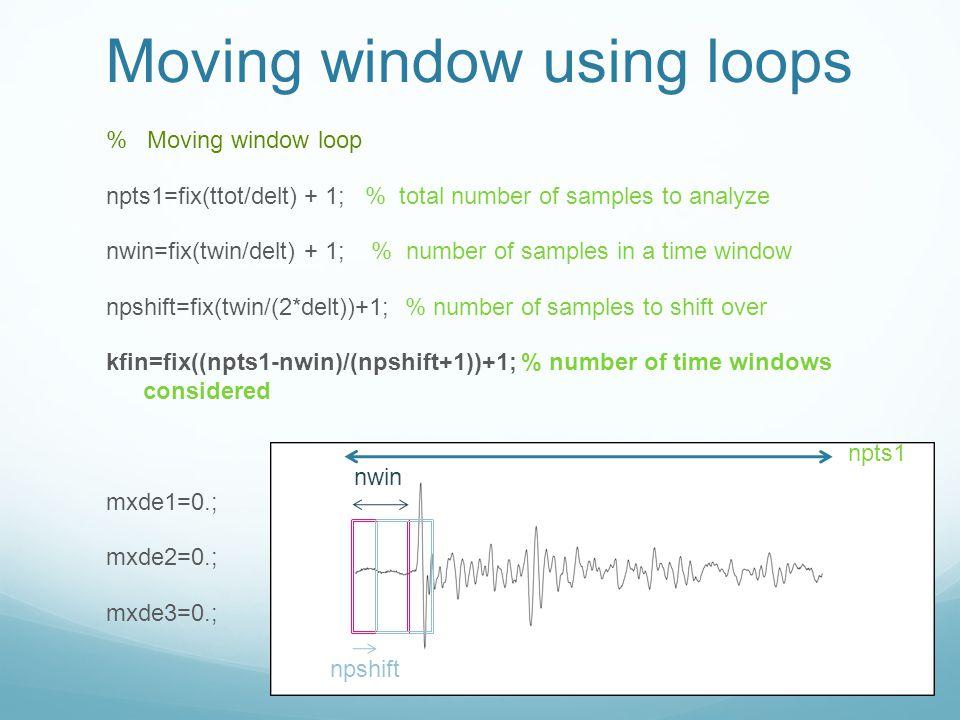 Moving window using loops