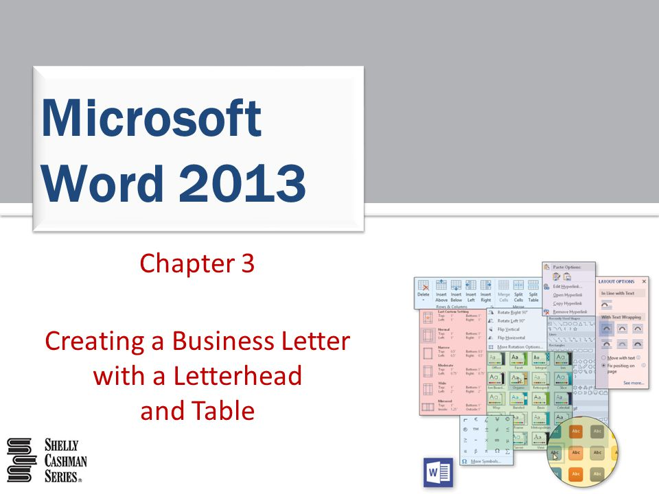 Chapter 3 Creating a Business Letter with a Letterhead and Table