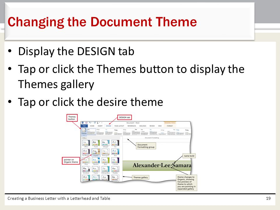 Changing the Document Theme