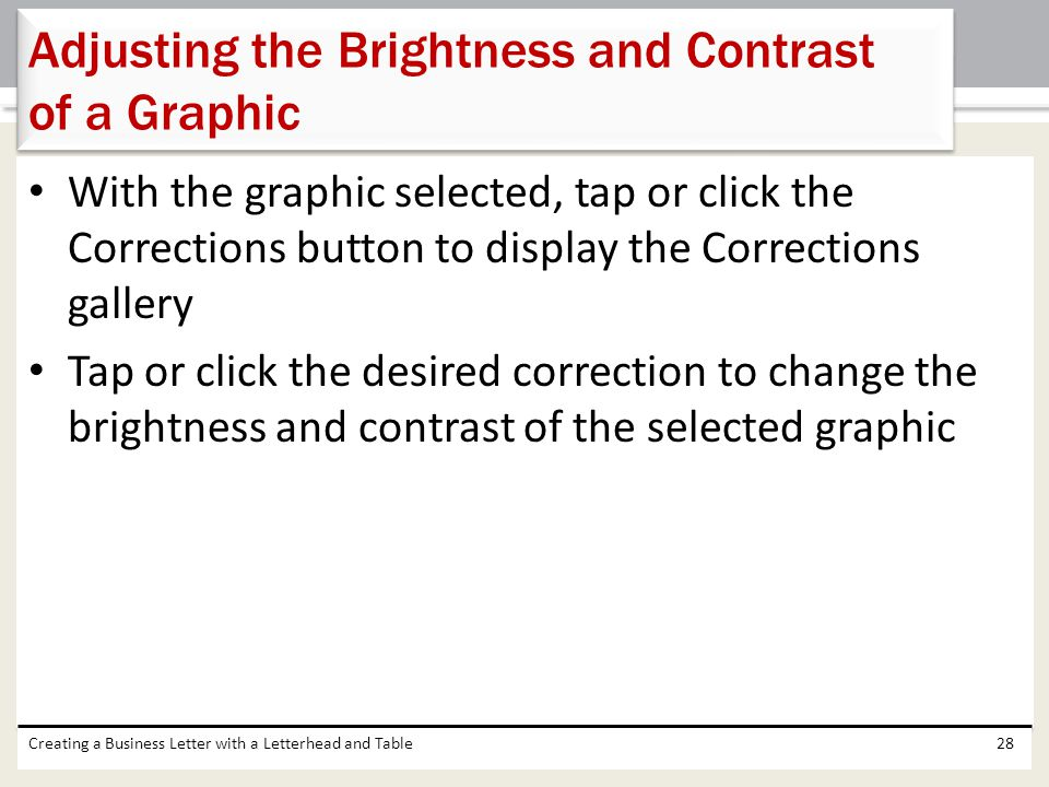 Adjusting the Brightness and Contrast of a Graphic